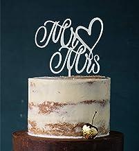 Cake Topper, Mr & Mrs, taartprikker, taartfiguur acryl, bruiloft bruidstaart taartopsteker (grijs) art.nr. 5008