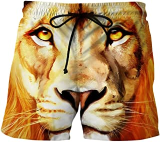 Challyhope Mens Swim Trunks Casual 3D Lion Printed Boardshorts Beach Shorts Stretch Pants