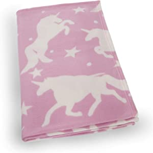 "Dreamscene Unicorn Fleece Blanket Throw Over for Girls Adult Baby Kids Twin Bed Couch Plush Sofa Warm Soft, Blush Pink White Stars - 50"" x 60"""