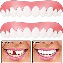 2 Piezas Carillas Instantáneas Dentaduras que Cubren Dientes Perdidos Dientes Dentales Dientes Temporales Kit de Relleno Cómodas Carillas Superiores Dientes Cosméticos para Hombres y Mujeres