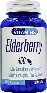 Elderberry 450mg - 200 Capsules (Non GMO & Gluten Free) - Super Immune Defense get Berry and Flower Flavonoids with Elderberry Capsules