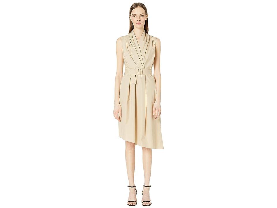Image of Adam Lippes Cotton Poplin Sleeve V-Neck Dress w/ Belt (Khaki) Women's Dress
