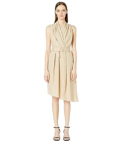 Adam Lippes Cotton Poplin Sleeve V-Neck Dress w/ Belt (Khaki) Women