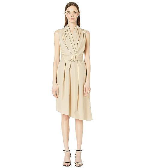 Adam Lippes Cotton Poplin Sleeve V-Neck Dress w/ Belt