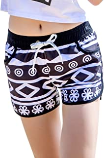 EDTara Summer Lovers Beach Short Pants Casual Quick Drying Printing Fashion Shorts for Beautiful Ladies