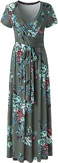 Womens Summer Vintage Floral Print Short Sleeve Maxi Long Dress