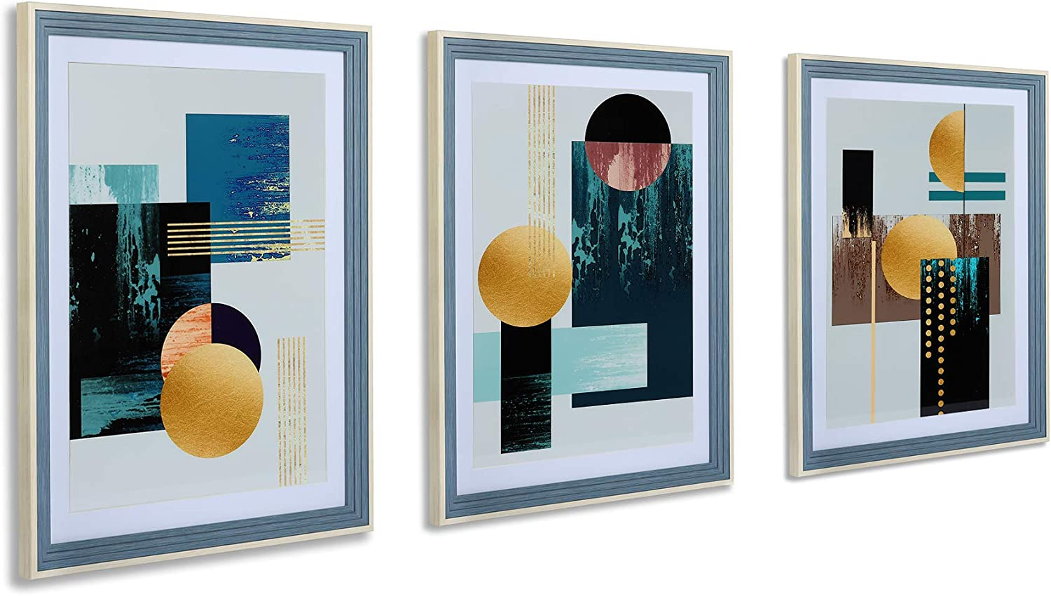3 Regular store Pieces Framed Wall Max 55% OFF Art Painting Modern Abstract SuXiuSilk