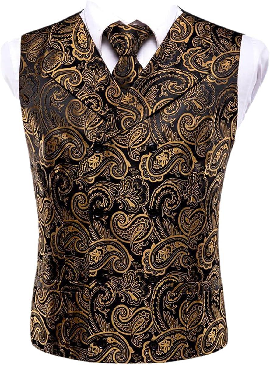 Silk Men's Vest and Tie Business Slim Fit Vest 4-piece Handkerchief Cufflinks Suit Blue Paisley Vest