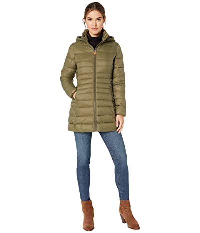 Save the Duck Giga 9 Puffer Coat with Removable Hoodie (Dusty Olive) Women
