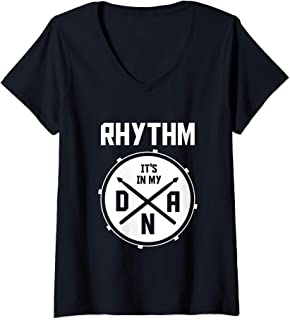 Womens Drummer DNA Rhythm Percussion Marching Band Gifts Drums V-Neck T-Shirt