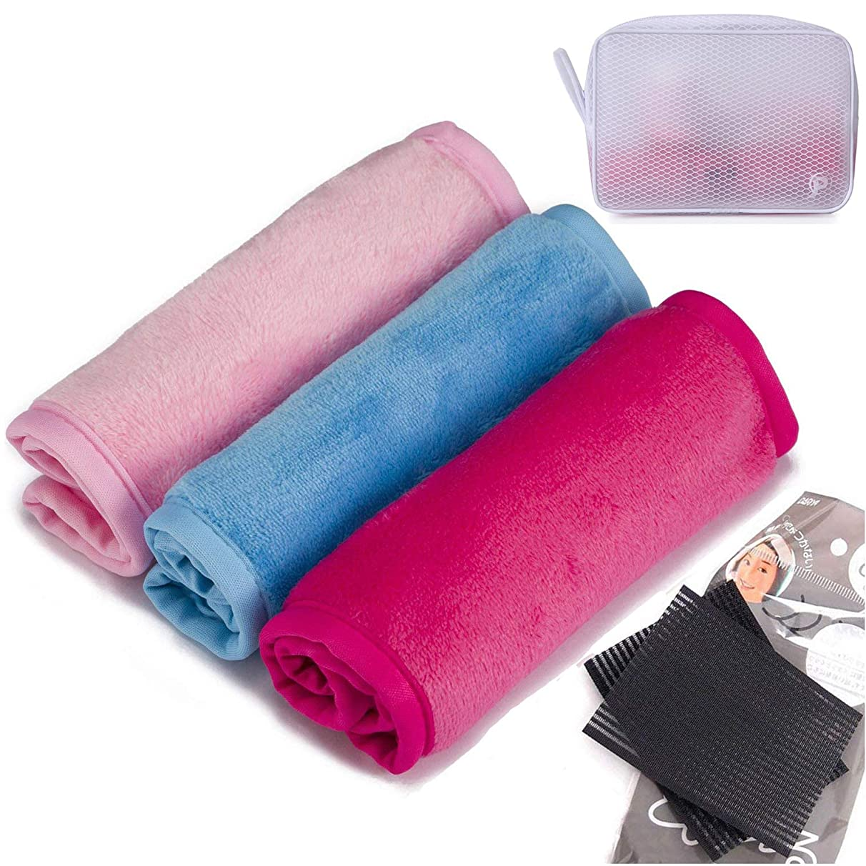 つづりフォーカストレイルメイク落とし布3枚パック - 水だけで落とせるのでケミカルフリー - 再利用可能な洗顔タオル - 返金保証付き(ピンク1枚+青1枚+ロージー1枚)