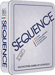 """Jax Sequence in a Tin - Original Sequence Game with Folding Board, Cards and Chips, Multi Color, 5"""""""