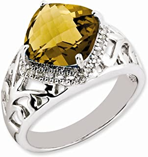 925 Sterling Silver Checker Cut Whiskey Quartz Diamond Band Ring Size 7.00 Gemstone Fine Jewelry Gifts For Women For Her