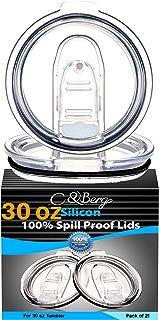 2 Yeti Lids 30 oz Spill Proof - No Leak Splash Proof Replacement Silicon Slider Locking Closure, 2 Lid For Tumbler, Fit Ozark, Open/Close 3.5 Inch Diameter by C&Berg Model 2019