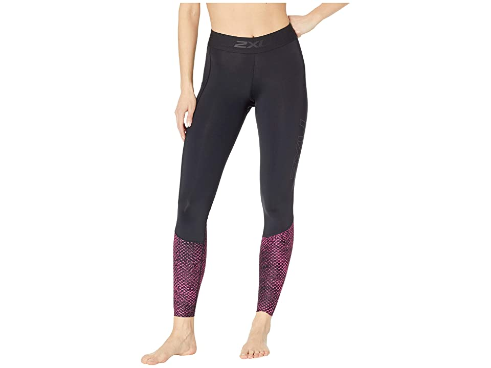 Image of 2XU Accelerate Compression Tights w/ Storage (Black/Reverse Mesh Fuchsia) Women's Casual Pants