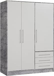 Kleiderschrank JOEL 1, B 145 cm, Weiß - Beton, 3 Türen & 3 Schubladen