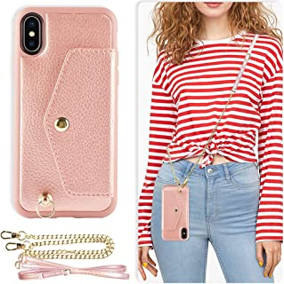 ZVE Wallet Case for Apple iPhone Xs and X, 5.8 inch, Adjustable Crossbody Chain Case with Credit Card Holder Slot Handbag Purse Wrist Strap Case for Apple iPhone Xs and X, 5.8 inch - Rose Gold