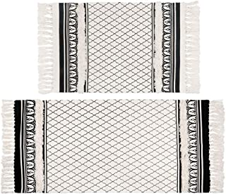 SHACOS Tufted Cotton Area Rugs Set of 2 Cotton Throw Rugs with Tassels Farmhouse Woven Cotton Rug for Doorway Living Room ...
