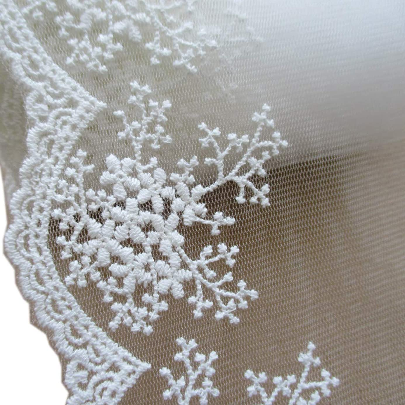 3 Yards 4-1/4 Inches Wide Cotton Embroidered Lace Trimming For Garment And DIY Craft Supply In White kdo9055005