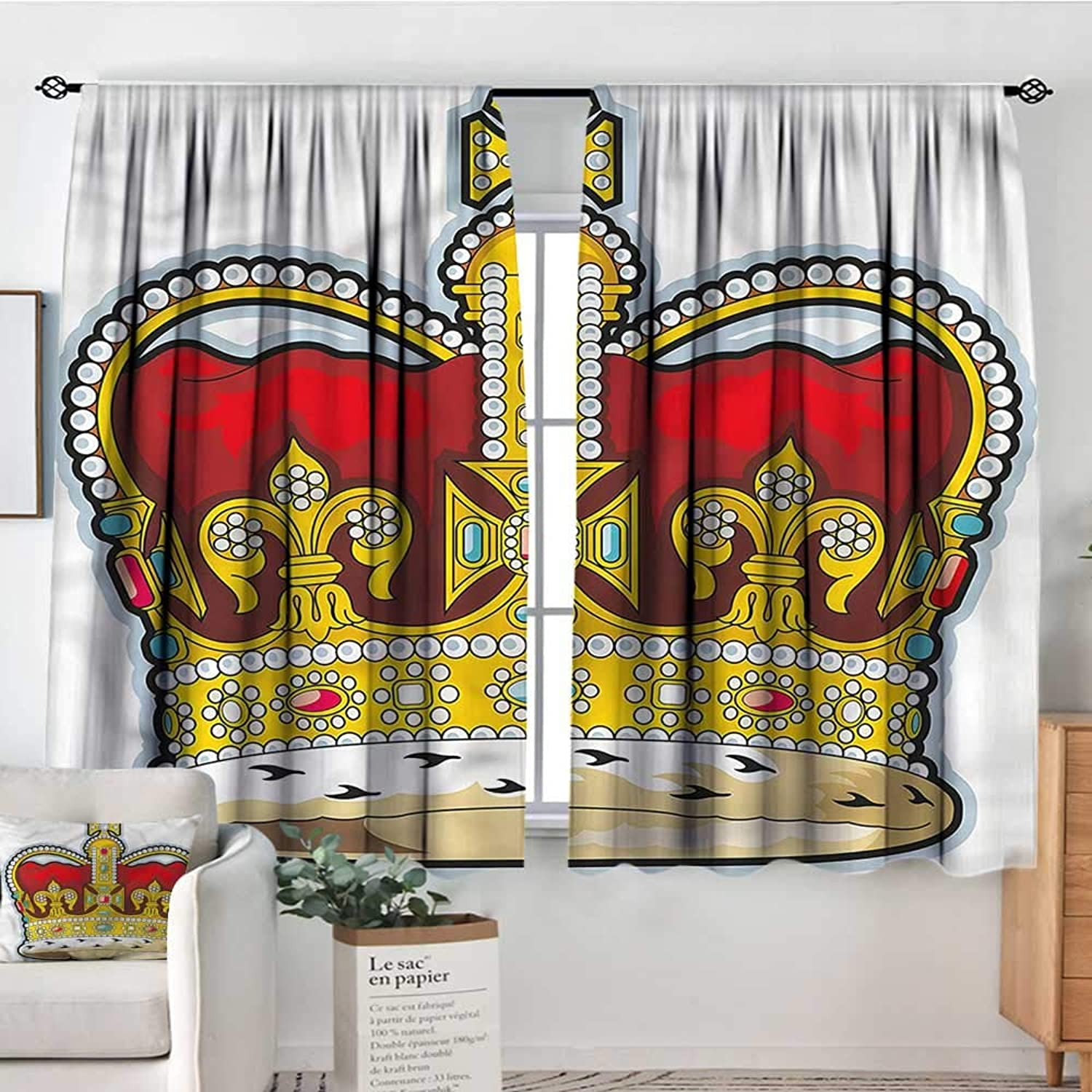 Heraldry,Boy's Iving Room Curtain Medieval Forms Stones 52 x63  Indo Treatments for Short Indo