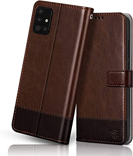 FLIPPED Vegan Leather Galaxy M51 Flip Case Cover Shock Proof With TPU Bumper Kickstand Card Cash Pockets With RFID Blocking Magnetic Closure Wallet Flip Cover For Samsung Galaxy M51 Hand Stitched Brown With Coffee