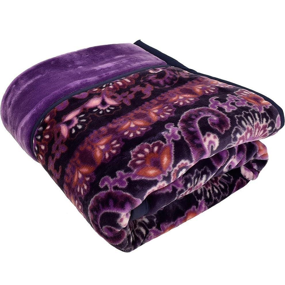 拒否気まぐれな化学昭和西川 2枚合わせ 毛布 アクリル シングル パープル 日本製
