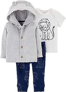 Carter's Baby Boys 3-pc. Roar Cardigan Pants Set Navy Blue/Grey/White