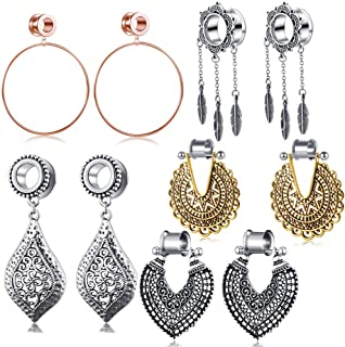 5 Pairs Ear Plug Tunnel Gauge Stretcher Piercing Dangle Gauges Stainless Steel Screw Double Flare 2g-6g-00g