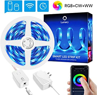 WiFi LED Strip Lights RGBWW 16.4ft - Lumary Color Changing Light Strip Kits Music Sync Waterproof Work with Alexa Google Home (RGBWW 16.4ft Led Strip)