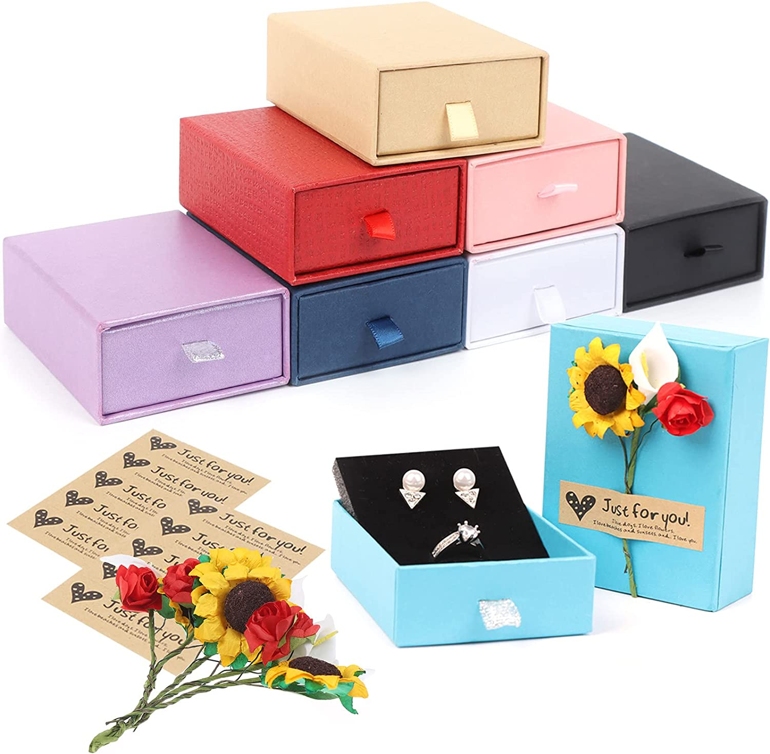 8 Pieces Jewelry Gift Max 69% OFF Boxes with 10 and Colo Stickers 24 Flowers Sales of SALE items from new works
