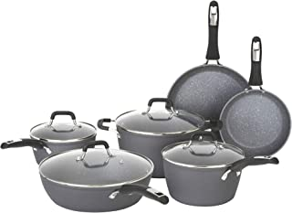 Bialetti Impact Textured Nonstick Oven-Safe, Gray 10 Piece Cookware Set, 10pc