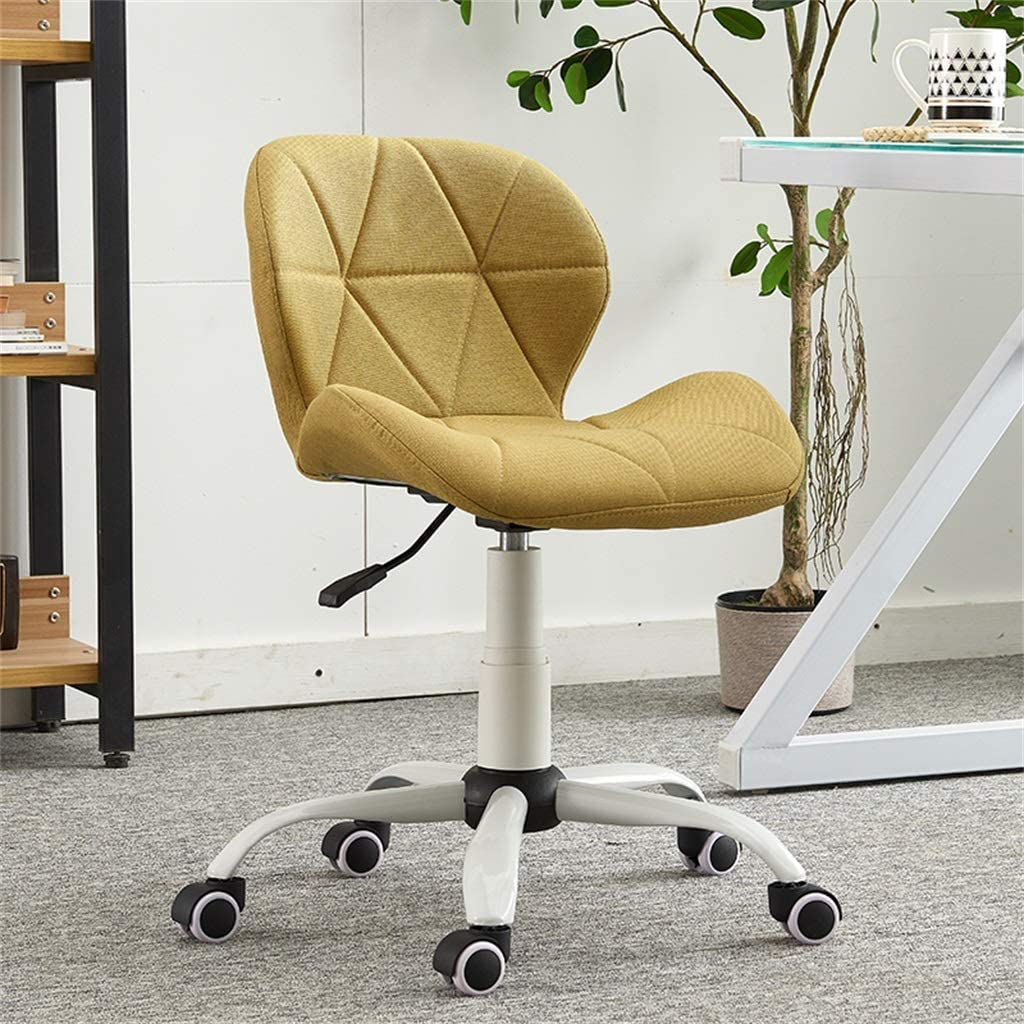CAIS Fauteuil en lin tissu chaise d'ordinateur bureau à domicile pivotant chaise de bureau petit étudiant étude chaise salon jeu chaises levage maquillage vanité tabouret,Bleu Vert