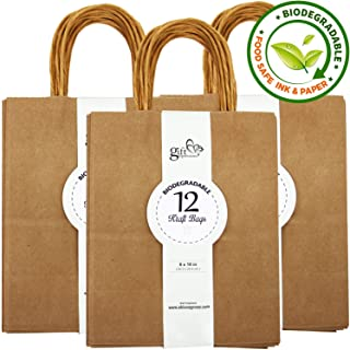 36-Count Natural Brown Kraft Bags, Paper Bags Paper Gift Bags, Merchandise Bags, Retail Bags, Party Bags, 100% Recycled Paper Bags with Handles Bulk (36CT, Solid Medium)