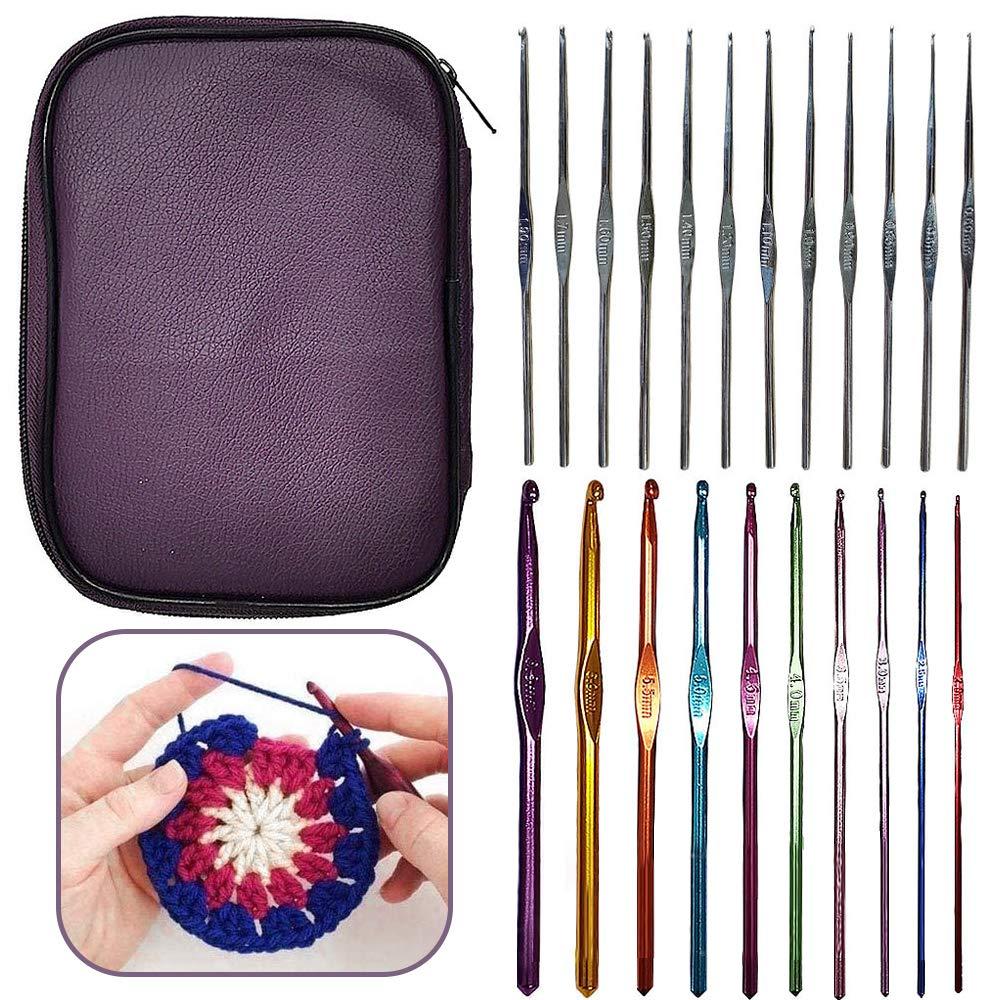 Yisika Kit de Ganchillos Crochet,Juego de Agujas de Ganchillo de Aluminio y con Estuche (22 Unidades): Amazon.es: Hogar