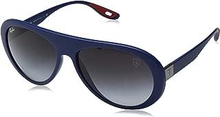 RAY-BAN Men's RB4310M Scuderia Ferrari Collection Aviator Sunglasses, Matte Dark Blue/Grey Gradient, 59 mm