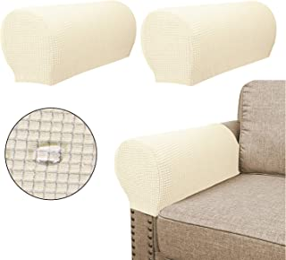 Sofa Armrest Covers(2 Pieces Set) - Water Repellent,Anti-Slip,High Stretch,Knitted Jacquard - Couch Arm Slipcover/Protector/Shield for Dog Cat Pets(Beige)