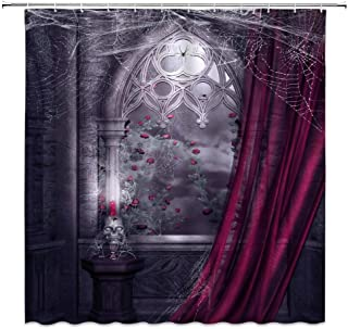 AMHNF Gothic Shower Curtain Vintage Castle Rose Flower Spider Web Skull Skeleton Horror Halloween Home Bathroom Decor Quic...