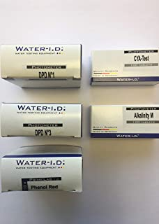 WATER-I.D. 5 Reactivos en Tableta para fotómetros, Test PH Phenol Red, Cloro (DPD1, DPD3), Alcalinidad, Cianuro