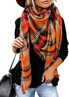 YEXIPO Women's Plaid Blanket Scarf Winter Warm Oversized Tartan Wrap Shawl Fashion Tassel Scarves
