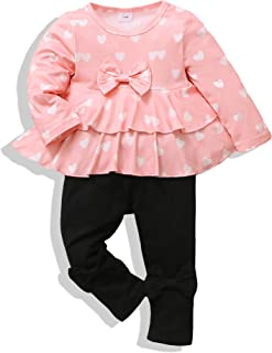 Toddler Infant Baby Girl Clothes Long Sleeve Ruffle Tops + Pants Cotton Baby Girl Outfit Set