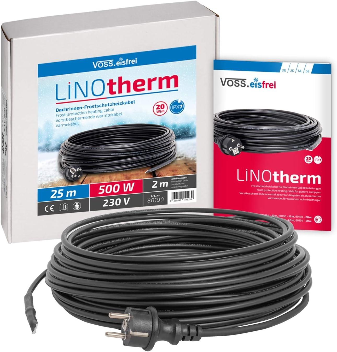 Heizkabel Linotherm 25 Meter lang, besonders hohe Heizleistung, VOSS.eisfrei Frostschutz für Dachrinnen und Wasserleitungen, Frostschutzkabel…