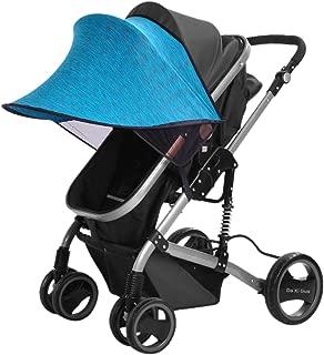 ベビーカー用 日よけ カバー UVカット 日焼け予防 風に強い 大きいサイズ 通用型レイフリー サンシェード 装着しやすい ブルー
