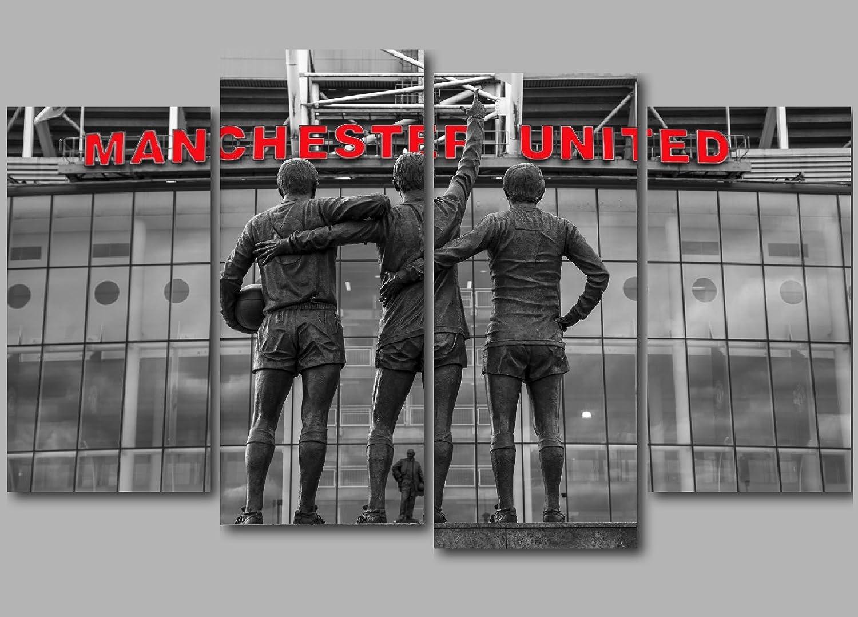 Old Trafford Manchester United Leinwand Leinwand Leinwand in rot MUFC 127 x 86,4 cm 4 Paneel-Aufteilung Wandbild Kunst B018CNB8FW 12c051