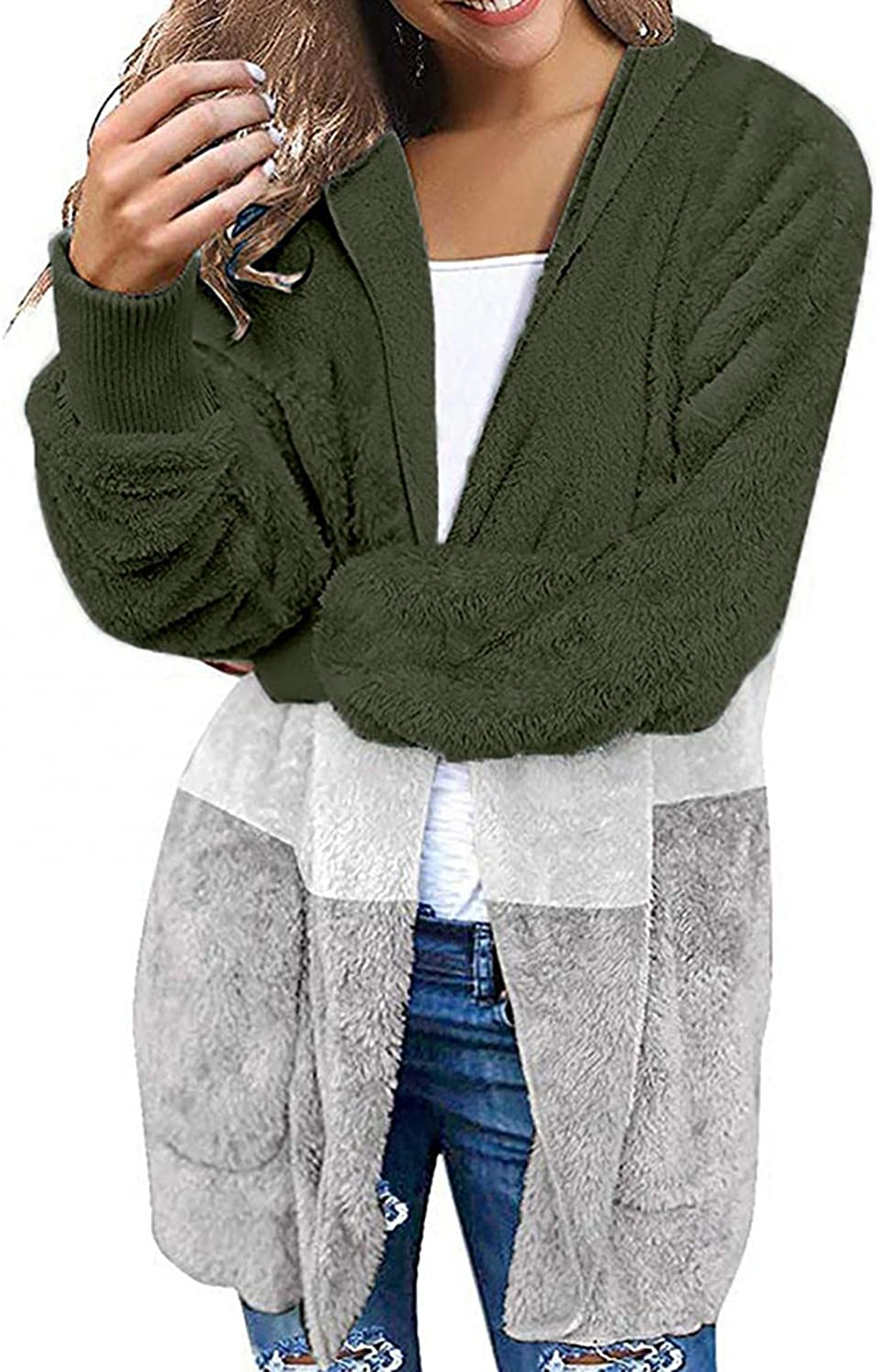 Womens Loose Fit Hoodie Plush Warm Sweater Open Front Cardigan Oversize Long Sleeve Color Block Coat Soft Blouse