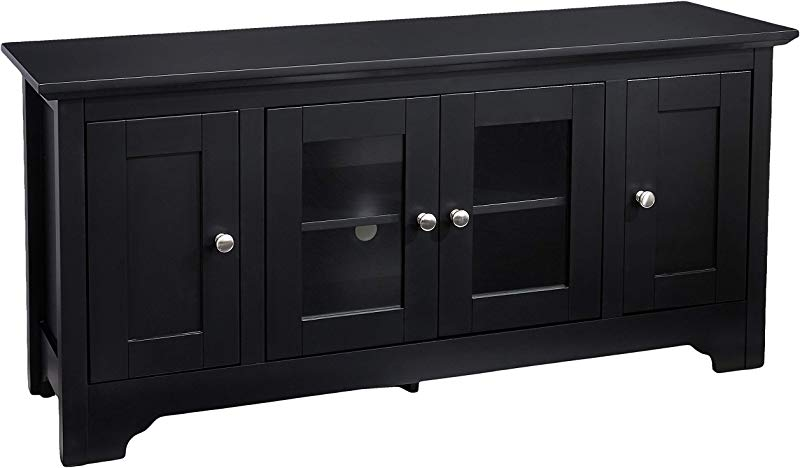 Rockpoint Plymouth 53 Inch Wood TV Stand Storage Console Crow Black