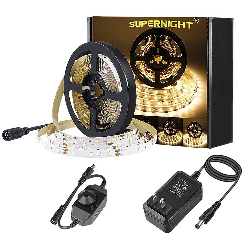 SUPERNIGHT LED Light Strip Warm White 3000K 16.4ft SMD 2835 300leds Flexible Rope with DC 12V Power Adapter and Dimmer for Indoor, Bedroom, Car, TV Backlighting