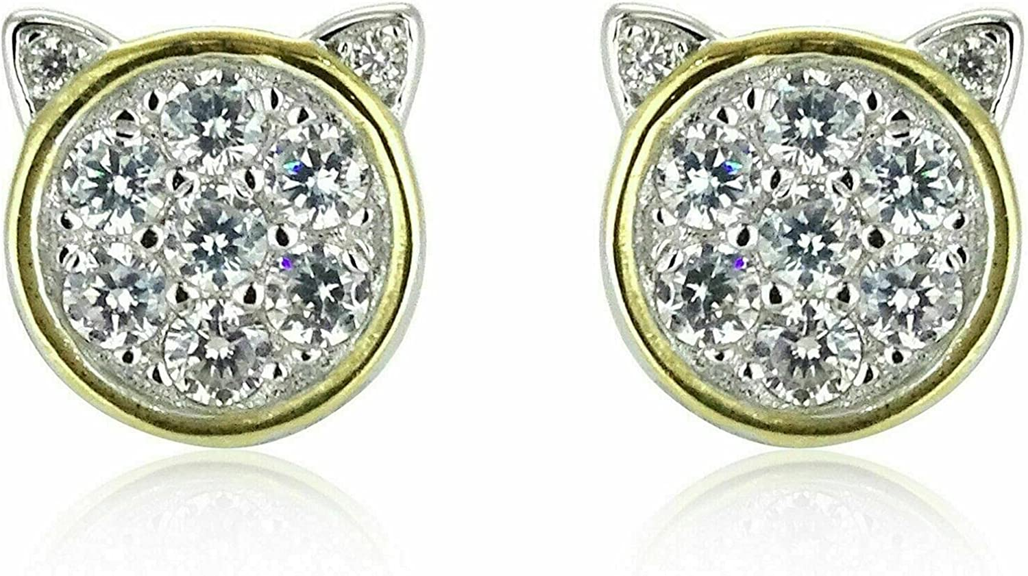 1Ct Round Cut Phoenix Mall Micro Pave Diamond Stud 14k Lucky Yel Al sold out. Earrings Cat