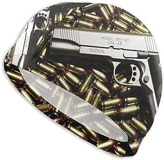 KIENGG Swim Cap for Women Men Bullets and Guns Long Hair Polyester Spandex Swimming Cap for Girls Teens