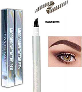 New 4-Tip Microbrow Tattoo Pen - Waterproof Micro-Bladed EyeBrow Pen, Up to 24-hours Without Smudging (2-Pack, Medium Brown Eyebrow Tattoo Pen)