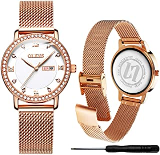 Classic Women Quartz Business Watch with Stainless Steel Band Waterproof Watches Roman Numeral Unique Calendar Date Window Wrist Watch